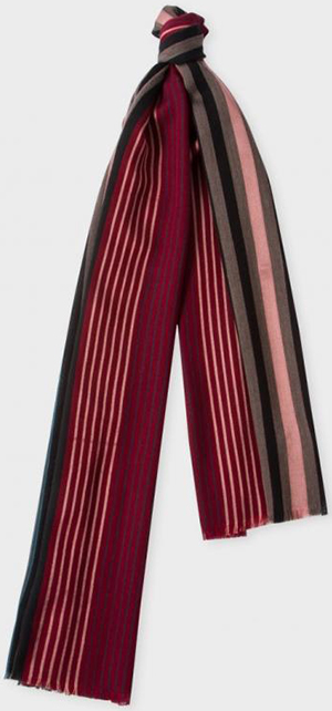 Paul Smith Men's Red Varied Stripe Wool-Silk Scarf: €130.