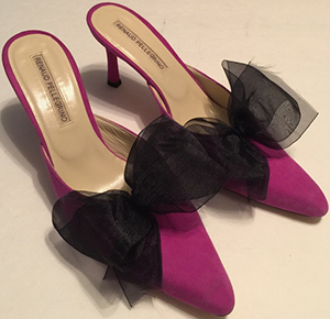 Renaud Pellegrino purple Bow Slide On Heels.