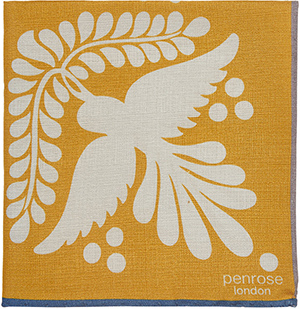 Penrose London Bird-Tile-Print Dotterel Pocket Square: US$90.