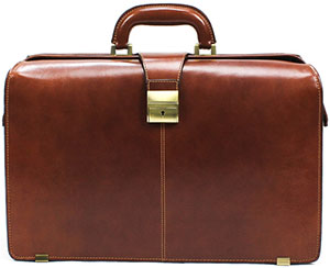 Tony Perotti Italian Bull Leather Benevento Double Compartment Lawyer's Leather Laptop Briefcase: US$410.