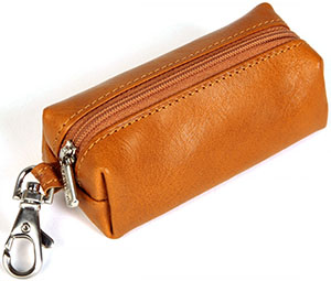 Tony Perotti Unisex Italian Bull Leather Top Zippered Key Holder Case: US$32.