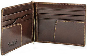 Tony Perotti Italian Bull Leather Executive Spring Tension Credit Card Money Clip Wallet: US$95.
