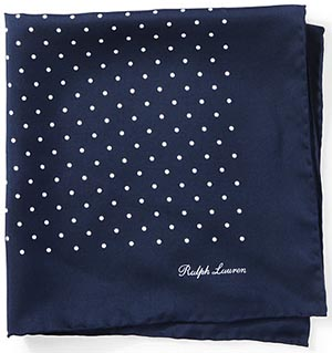 Ralph Lauren Polka-Dot Silk Pocket Square: US$145.