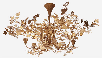 Porta Romana Large Ivy Shadow Chandelier - Forest Gold.