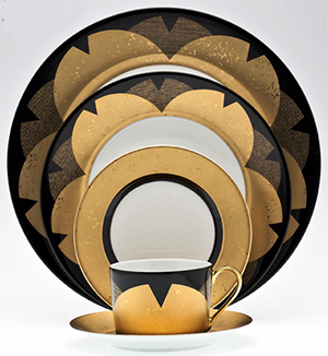 Royal Limoges 'Recamier' shape with a pattern with subtlety in black and gold created by Kenzo Takada.