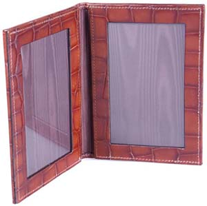 Sage Brown Mississippi Croc Bi-Fold Photo Frame: £85.