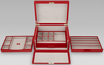 Smythson of Bond Street Grosvenor 3 Drawer jewellery box: £957.