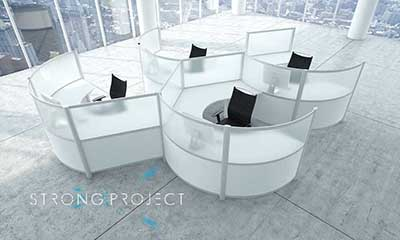 Strong Project Modular Office Furniture - Curved Workstations.