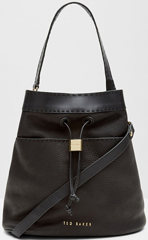 Ted Baker Kashia Stab stitch leather bucket bag: £289.