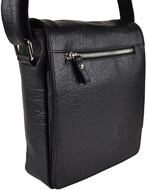 Mens Ladies Leather Cross Body Bag by Underwood & Tanner London Hansson Gift (Black).