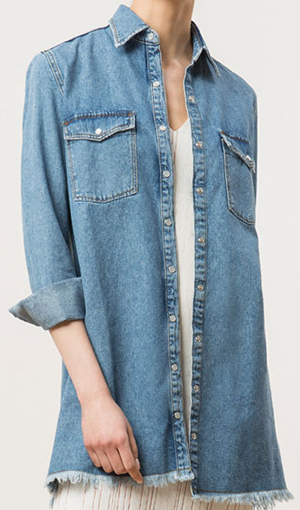 Uterqüe women's Long Cotton Denim Shirt: £80.