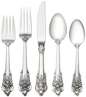 Lifetime Sterling Wallace Grande Baroque 5 Piece Place Setting: US$950.