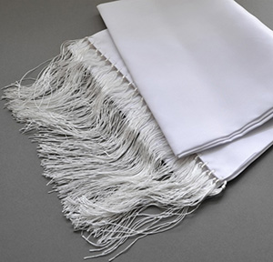 Wessex men's 100% Silk White dress Scarves with hand knotted fringes.