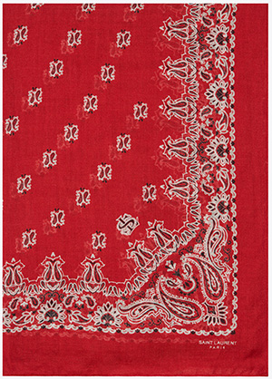 Saint Laurent women's Bandana Stole in Red and White Paisley Printed Cashmere and Silk Étamine: US$895.