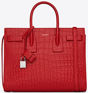 Yves Saint Laurent Classic Small Bag de Jour in Red Crocodile Embossed Leather: US$2,990.