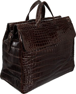 Zagliani Brown Crocodile Omar Duffel.