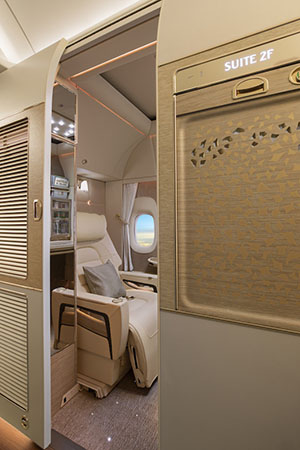 Emirates' Boeing 777 first-class cabin.