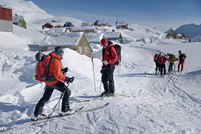 Ski touring in Greenland.