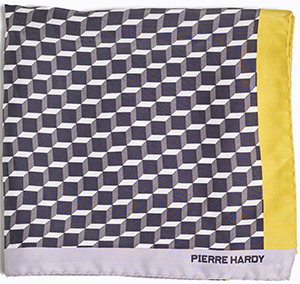 Pierre Hardy women's Scarf in silk with a black, white & yellow perspective cube print: €280.