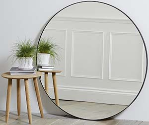 The White Company Chiltern Thin Metal Round Mirror - Black: £295.