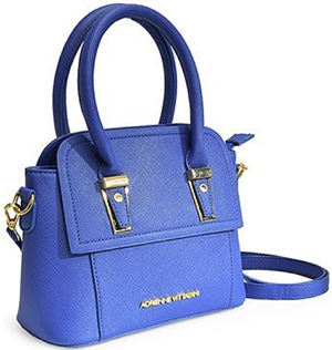 Adrienne Vittadini Crossbody in Royal blue Saffiano-textured faux leather handbag: US$49.