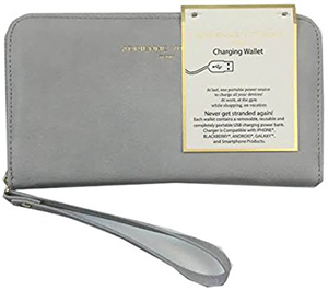 Adrienne Vittadini Zip Around Charging Wallet Dove Grey Smooth: US$45.