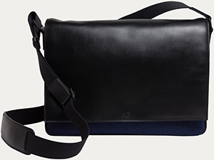 Agnès B. blue leather & wool besace igor: US$585.