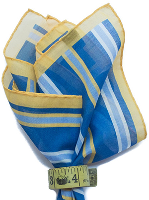 Alan Flusser Blue/Yellow/White Printed Cotton Pocket Square: US$75.