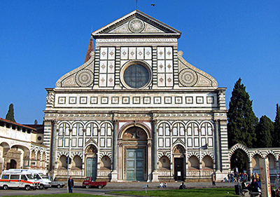 The polychrome facade of Santa Maria Novella completed by Leon Battista Alberti in 1470.