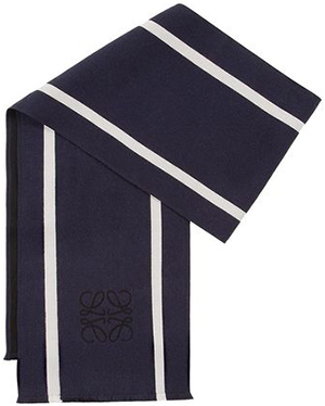 Loewe men's 30X200 Anagrama&Stripes Scarf Black/White: US$325.