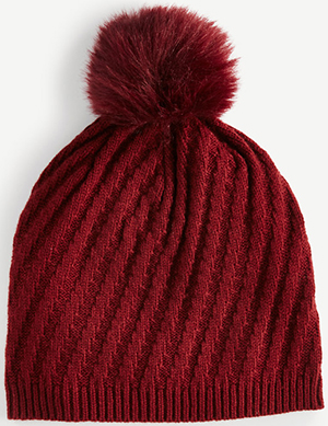 Ann Taylor Ribbed Pom Pom Hat: US$49.99.