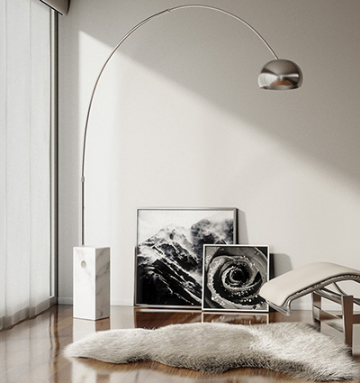 Flos Arco 100W Incandescent Stainless Steel Marble Floor Lamp: US$1,975.