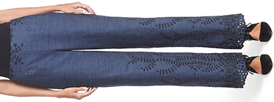 Yigal Azrouël women's Eyelet Embroidered Denim Trousers: US$650.