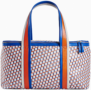 Pierre Hardy women's Travel Bag in white & blue Cube Perspective print on coated canvas: €950.