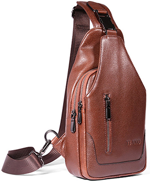 Banggood men's Genuine Leather Sling Bag Business Crossbody Shoulder Bag.