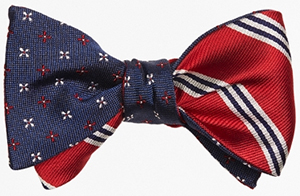 Brooks Brother Mini Alternating Flower with Mini BB#1 Stripe Reversible Bow Tie: US$79.50.