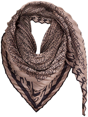 Loewe women's 90X90 Pleated Scarf Beige/Grey: US$390.