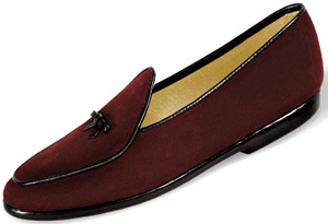 Belgian Shoes Mr. Casual Suede | Burgundy with black trim: US$440.