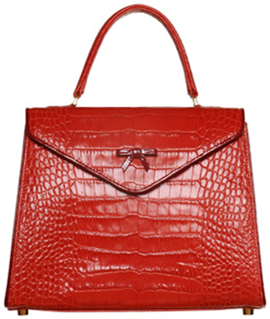 Belgian Bags Lipstick Red Italian Crocodile with Cranberry patent piping | Style Elaine: US$1,500.