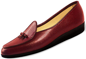 Belgian Shoes Travelette Lizard Calf | Burgundy with burgundy trim: US$375.
