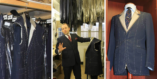 Benson & Clegg's head cutter Tony Martin with bespoke suit jackets.