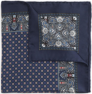 Benson & Clegg Navy Blue Design Silk Pocket Square: £40.