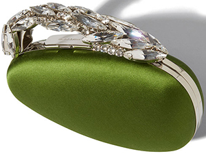 Manolo Blahnik Nadi Green Satin Egg Shaped Jewelled Clutch: US$1,925.