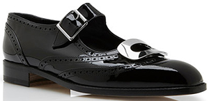 Manolo Blahnik Scot Black Patent Silver Hardware Detailed Buckled Shoes: US$955.