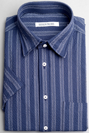 Brooklyn Tailors Seersucker men's shirt in navy with white stripes: US$195.