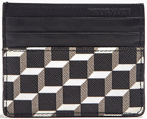 Pierre Hardy men's Black & white card holder Perspective Cubes print on coated canvas: €110.