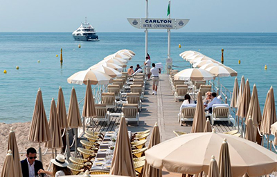 InterContinental Carlton Cannes, Seaside Beach, 58 Boulevard de la Croisette.