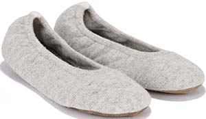 The White Company Cashmere Contrast Ballet Slipper - Pale Grey Marl: £75.