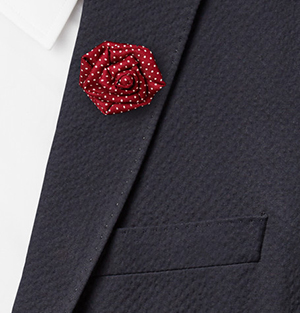 Charvet Polka-Dot Silk-Faille Flower Lapel Pin: €115.