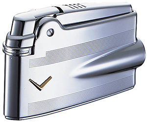 Ronson Premier Varaflame Chrome Engine-Turn V Mark lighter.